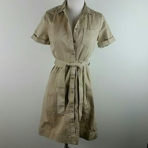 J. Crew khaki utility dress knee length 4